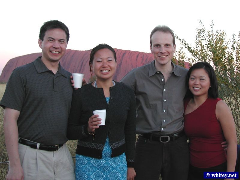 David, Ly, Andrew, and Kieng at our puesta de sol party, Uluru, Australia.