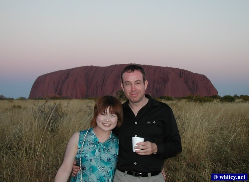 Kana and Peter at our puesta de sol party, Uluru, Australia.