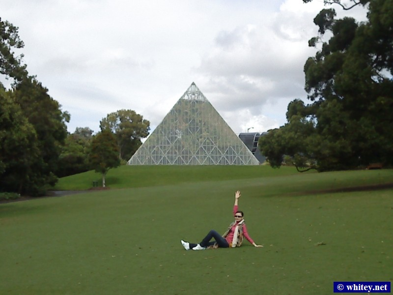 Pyramide Glasshouse and Lisa, Botanical Gardens, Sydney, Australien.