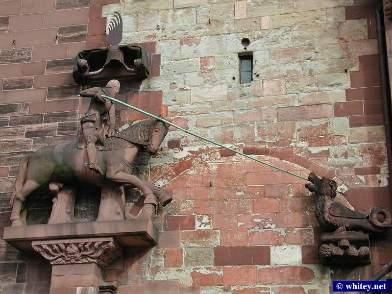 Knight slaying Dragon, Basel Münster's Outside Wall, Basel, Switzerland.