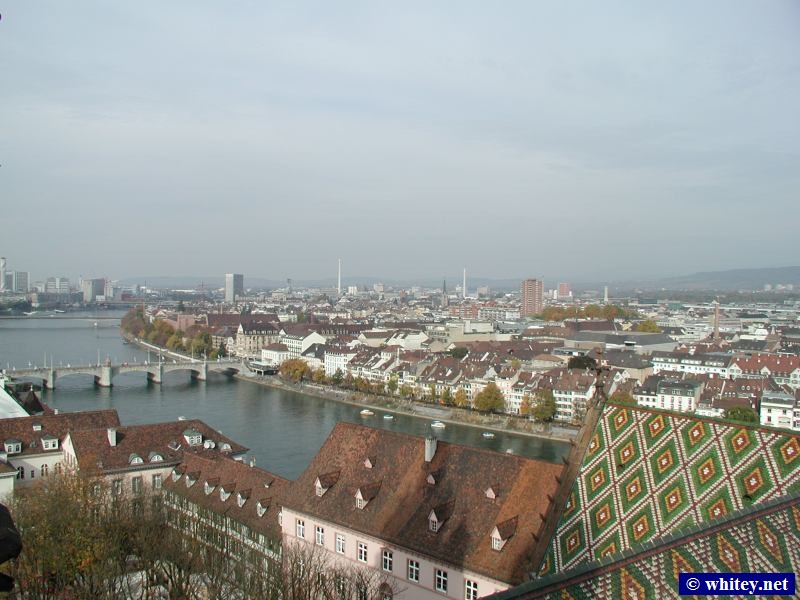 View from roof of Basel Münster looking North West towards Mittlere Brücke (bridge's name) on the Rhine, Basel, Switzerland.