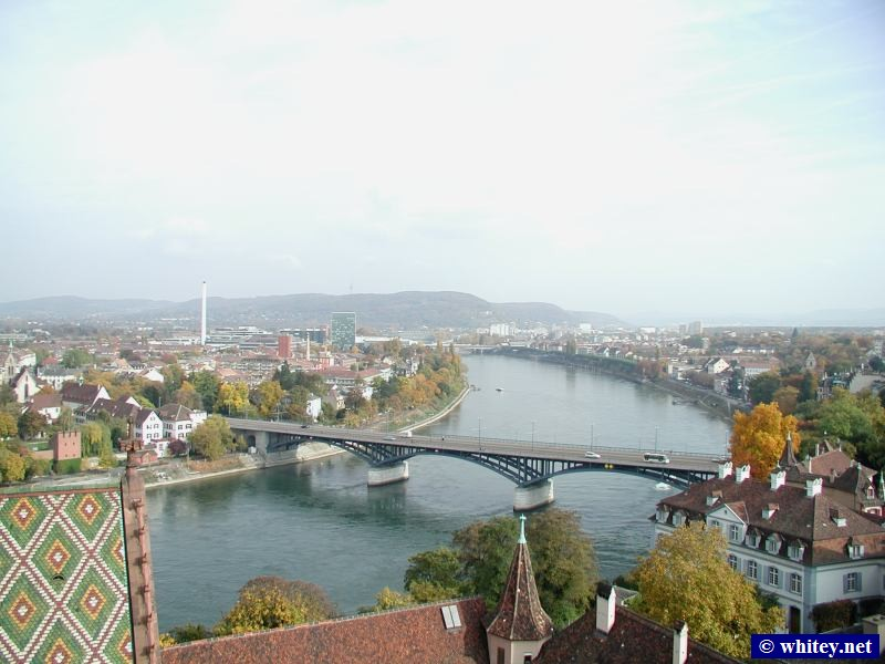 View from roof of Basel Münster looking East towards Wettsteinbrücke (bridge's name) on the Rhine, Basel, Switzerland.