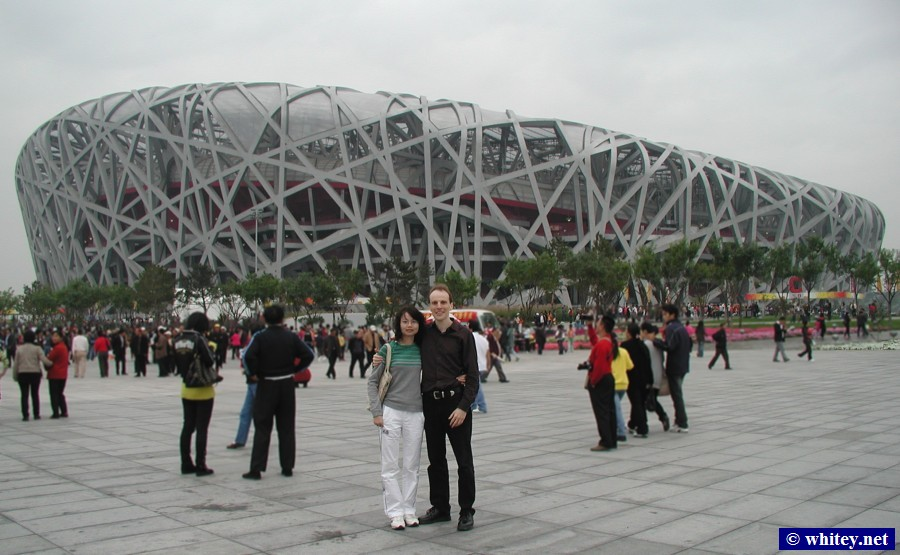 "Lisa & Andrew, 北京 National Stadium ""鳥巣"".  国家体育场 ""鸟巢""."