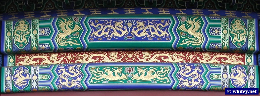 Colourful Decorative Pattern on Eaves, Templo del Cielo, Pekín, China.  天坛.
