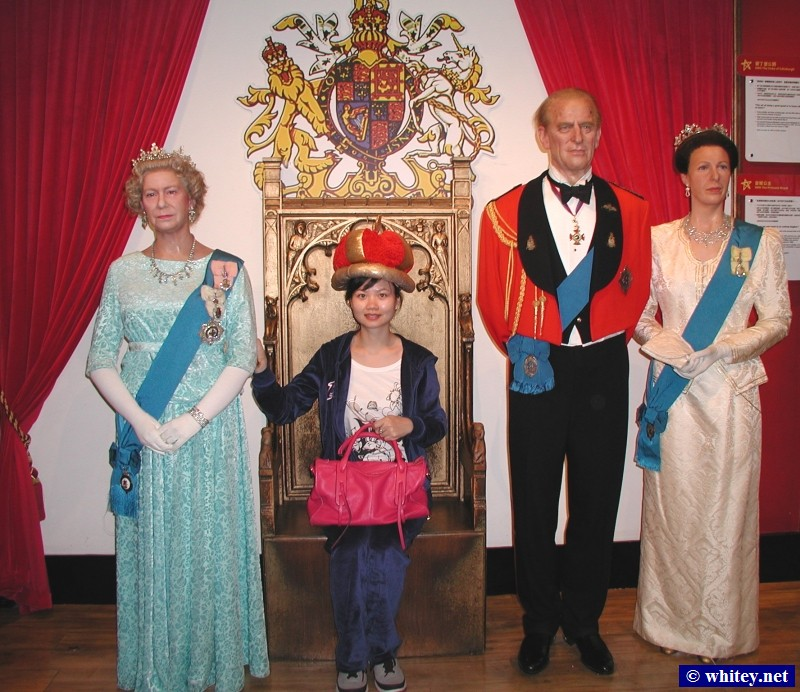 Queen Elizabeth, Prince Philip, and Princess Anne, Madame Tussauds, Hong Kong. 伊利沙伯二世, 杜莎夫人蠟像館.