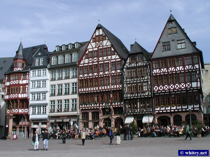 Römer Platz, North bank of the Main river, Frankfurt, Germany.