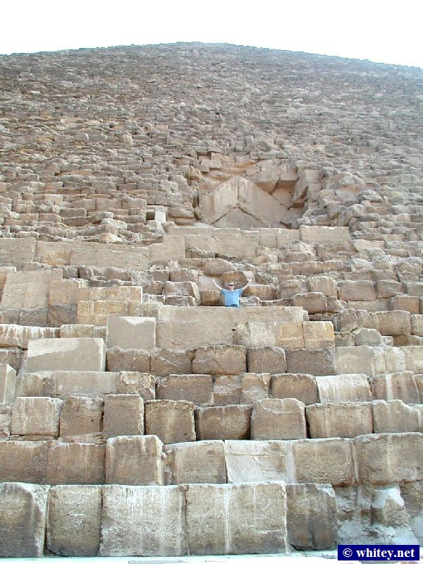 Andrew on the Cheops-Pyramide, Ägypten.   أهرامات الجيزة  Climbing is prohibited but in this photo Andrew is on the staircase to the entrance.