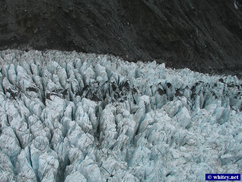 Fox Glacier, South Island, New Zealand – Aerial view from a helicopter.